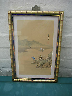 Japanese Hand Painted Water Colour & Ink Fisherman Mountains & Lake Signed