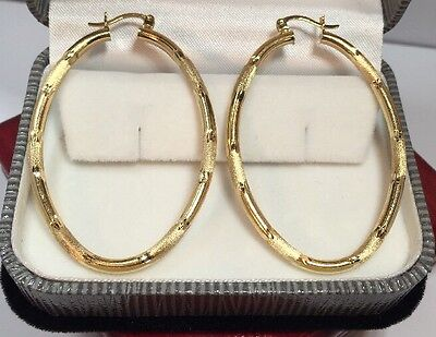 """WoW Large 14k Yellow Gold Diamond Cut Etched Filigree 585 Hoops 3MM Earrings 2"""""""