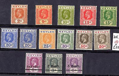 Ceylon KGV Collection of 14 Mint Values DIE II X6982