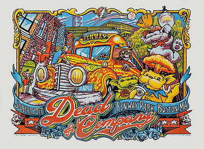 AJ Masthay Dead Company Co Fenway Park Boston SIGNED EMBOSSED Print 6/18 Night 2