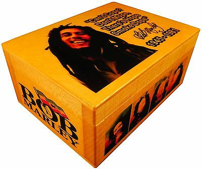 Bob Marley Reggae Rasta Figure, Rolling weed BOX, AUTOGRAPHED, Poster Quote Flag