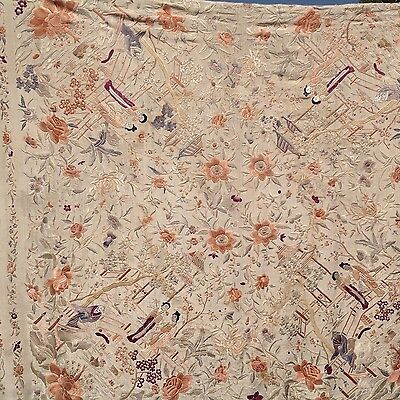 ANTIQUES CHINESE RARE SILK HAND EMBROIDERED TEXTILE PIANO SHAWL Art O5