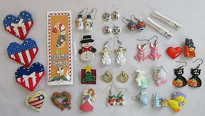 Mixed Lot of Holiday Costume Jewelry Christmas Halloween Easter + Earrings Pins