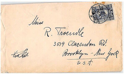 China, 1929 Burial, Shanghai To New York, Single Franking, Cover