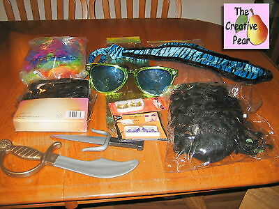 Lot of 11 Halloween Costume Accessories Wigs Sun Glasses Clown Tie Eye Lashes