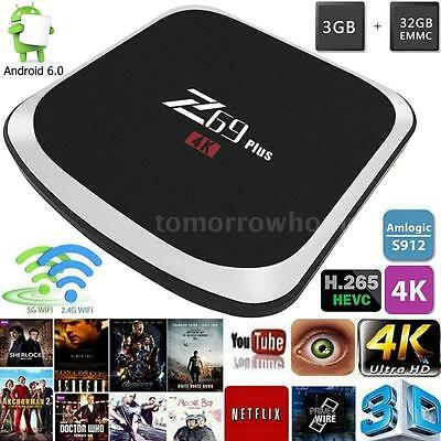 Z69 Plus S912 4K Octa Core 3G+32GB Android 6.0 Smart TV Box 5G Dual WIFI BT F5T6