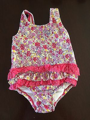 M&S Girls Swimming Costume Age 3-6 Months In Vgc