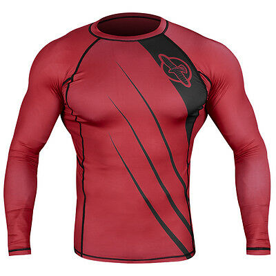 Hayabusa Recast Series Long Sleeve Rashguard - Red/Black - mma grappling bjj