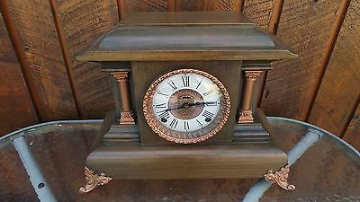 ANTIQUE Shelf Mantel Clock Has Old Wooden Case and Key