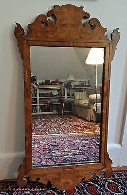 Southern Figured Maple Chippendale Revival Wall Mirror--Eye-catching Antique