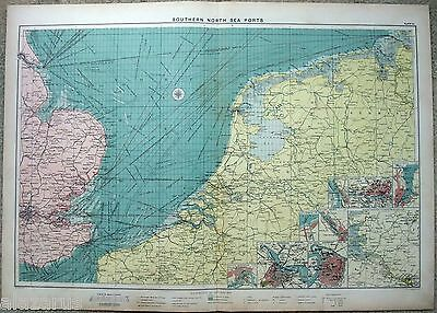 Large Original 1918 Chart of The Southern North Sea Ports