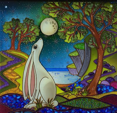 Moon Gazing Hare by the sea Stained glass style hand painted panels & splashback