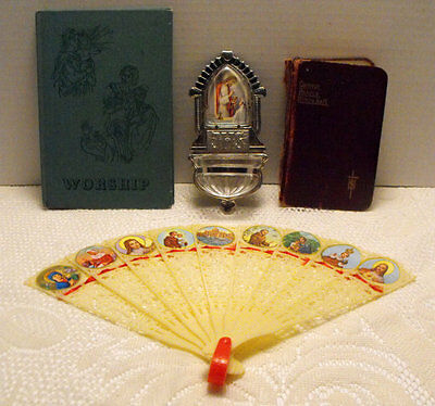 Lot of Vintage Religious Items Holy Water Font Plastic Fan Jesus Prayer Book