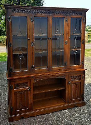 Carved Oak Old Charm Bookcase / Display Cabinet