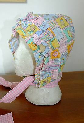 Adult Baby Bonnet Hat Frilly Roleplay Servant BDSM Victorian Cotton Sissy Pink