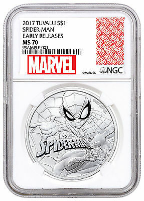 2017 Tuvalu Marvel Spider-Man 1 oz. Silver $1 NGC MS70 ER Excl SKU48160