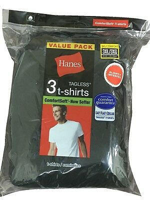 Men Hanes ComfortSoft Black Crew Neck Short Sleeve T-shirt size M-3X