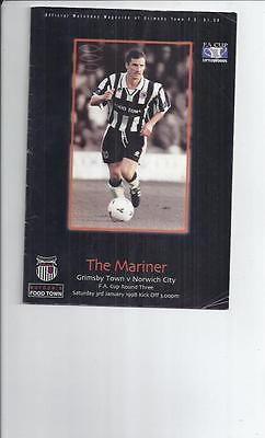 Grimsby Town v Norwich City FA Cup Football Programme 1997/98