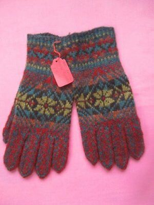 BNWT Beautiful Hand Knitted Rosewood Fair Isle Pattern Pure Wool Gloves Large