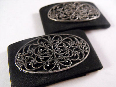 Set Of Two Matching Vintage Black Fabric And Silver Metal Filigree Shoe Clips