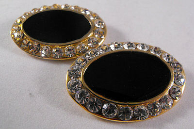 Set Of Two Matching Vintage Rhinestone And Faux Onyx Shoe Clips Ovals