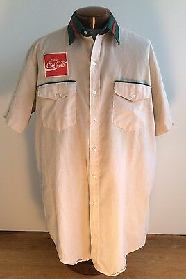 "Vtg 50s 60s Coca Cola Delivery Driver Short Sleeve Work Shirt 17.5"" L-XL Coke"