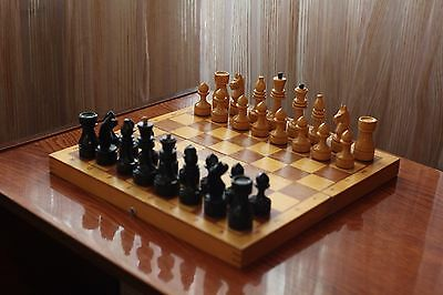 "11,8"" Vintage Soviet Chess USSR 1970s Wooden Chess - Full Set!"