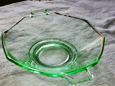 Vaseline glass dish hexagon shaped with handles gold trim worn off