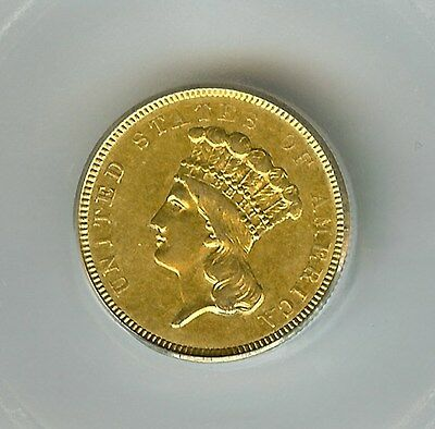 1854-O Indian Princess $3 Gold  Icg Au53  Rare! Only 24,000 Minted!