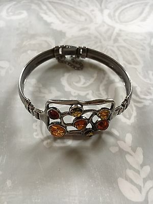 Sterling Silver and Amber Bangle Bracelet 925.