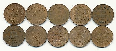 Canada Small Cents Lot 1920 To 1934