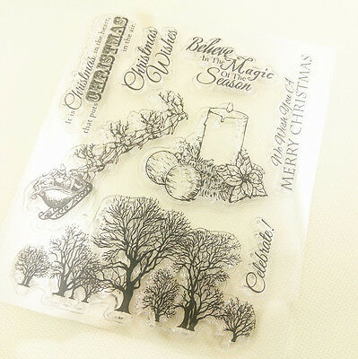 1 Sheet Silicone Transparent Stamp Seal Merry Christmas Scrapbooking DD04