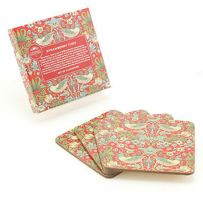 Set of 4 William Morris Strawberry Thief Bird Cork Backed Coasters Table Mats