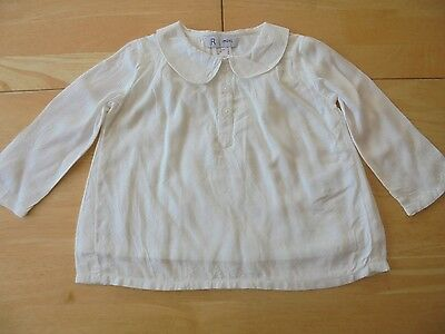 LA REDOUTE BABY GIRLS PAN COLLARED LONG SLEEVE TOP AGE 9 MONTHS NEW (ref 219)