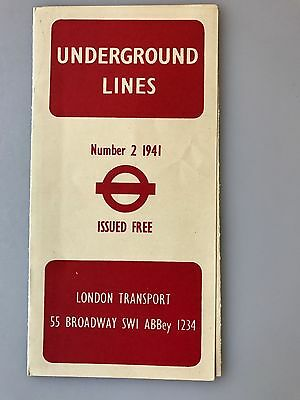 WWII London Underground Lines Map Number 2 1941
