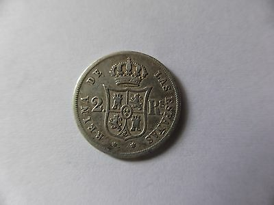 Spain Silver 2 Reales Coin 1859 - Isabel II.