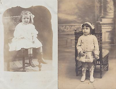 Two Antique RPPCs: Little Girls, Children, Social/Fashion History - Lovely Shoes
