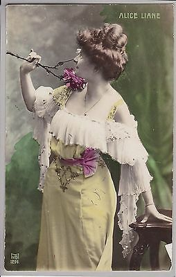 Antique PC - Alice Liane - Actress/Performer - Glamour - Beautiful Lady - Dress