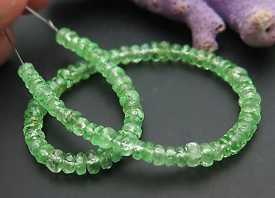 "90 AAAA+ MINT GREEN TSAVORITE GARNET FACETED BEADS 6.25"" 18cts GEM GRADE"