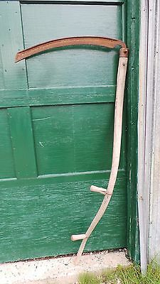 "Vintage Antique 61"" Long Scythe Hay Grain Sickle Farm Tool Blade is 25"" Long"