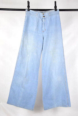 Vtg 70s Blue Denim Wide Leg Bell Bottom Gaucho Pants Jeans Womens High Waist 31""