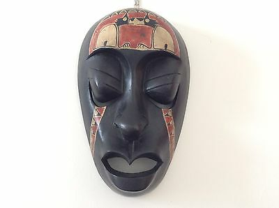 Colourful African Style Wooden Wall Hanging Face Mask