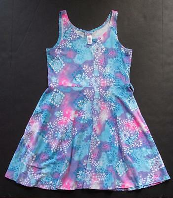 Justice Girls Aqua Purple and White Floral Sleeveless Dress Size 12
