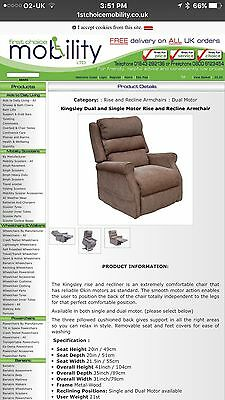 Rise and recline remote controlled arm chair/recliner Less 12 Months Old