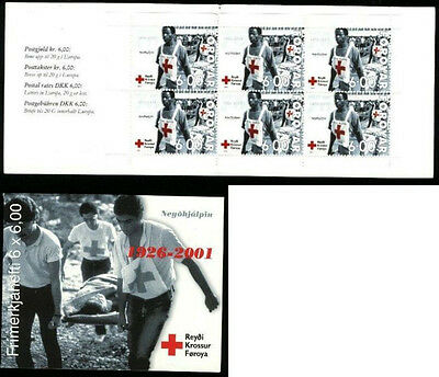 Faroe Islands 2001 Booklet SB25 Red Cross, Stretcher pane of 6 SG 405 MNH / UNM