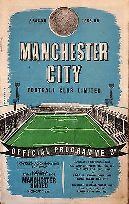 MANCHESTER CITY v MANCHESTER UNITED - 1958 - Division 1 - Fair Condition
