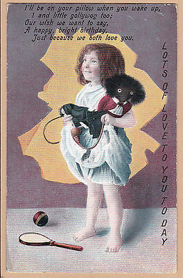 Antique PC - Baby And Dolly Series - Little Girl With Ethnic Toy - Birthday