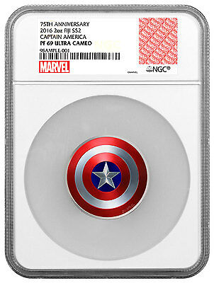 2016 Fiji Captain America Shield Marvel Domed 2 oz. Silver NGC PF69 UC SKU48136