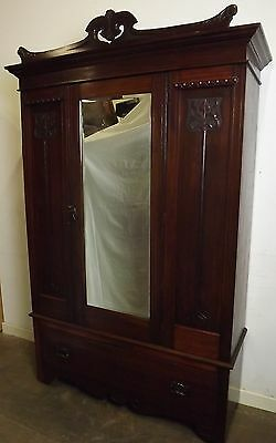 Antique Victorian Art Nouveau Style Walnut Single Wardrobe With Drawer Beneath