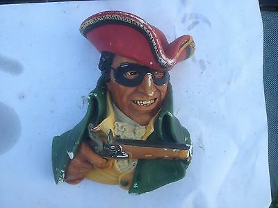 Vintage Bossons Highwayman Chalkware Wall Face Plaque